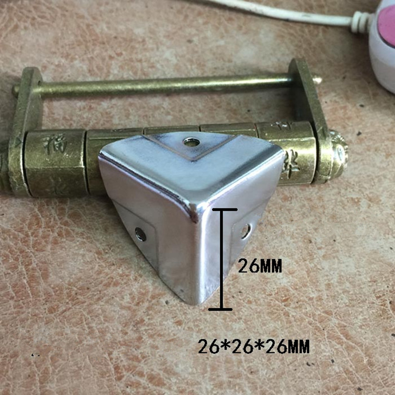 Antique Style Metal Box Corner Iron Protection Case Edge Guard Corner Cover,Chrome Color,26*26*26mm,4Pcs