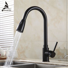 Solid Brass Black Finish Kitchen Faucet Pull Out Kitchen Mixers Mixer Tap 2 Way Function Water Come Out Deck Mounted 408906R(China)