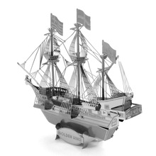 3D Laser Cut Building Metal Pirate Ship Model Nano Puzzle Educational DIY Assembling Toy