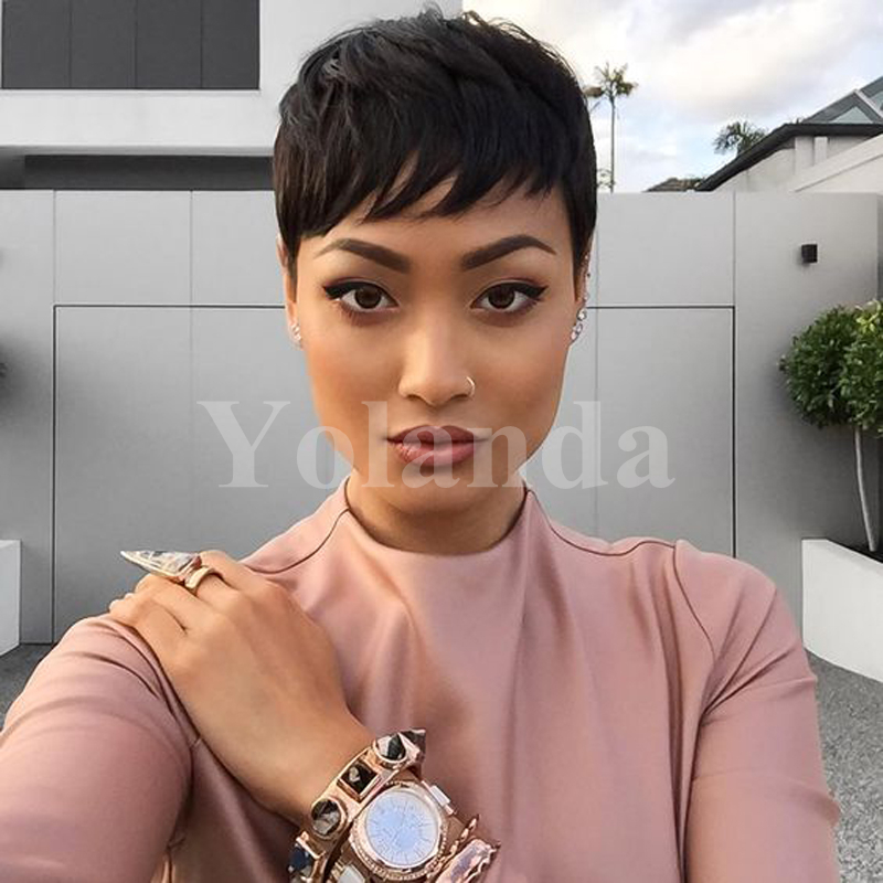 Cheap Human Real Hair wig Pixie Cut Short Wig For Black Women Average Size Hair Human Short Black Wigs African American Wigs<br><br>Aliexpress