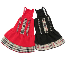 New arrival Dog Cat Dress Shirt 100% Cotton Plaid Strap Skirt 5 sizes Colours(China)