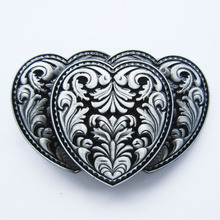 Retail Distribute Black Triple Hearts Western Belt Buckle BUCKLE-T046BK Free Shipping