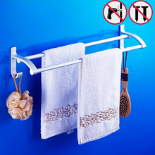 Nail free High Quality Silver Towel Holder Aluminium Bathroom Towel bars Double Towel Bars Brand Bathroom Accessories(China)