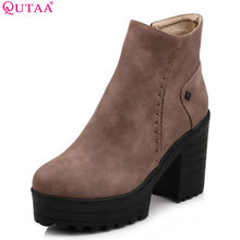 QUTAA 2018 Women Ankle Boots Square High Heel Black Solid Zippers PU Leather Casual Fashion Platform Ladies Shoes Size 34-43(China)