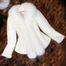New Winter Women Faux Mink Fur Coat With Fox Fur Collar Long Sleeve Slim Short Hair Cape Coats White Thick Warm Jacket Big Size