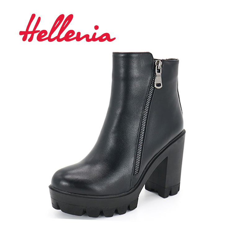 Hellenia 2017 New Autumn Boots Fashion Platform  shoes wedges Women PU leather Fleeces Boots Lining Hot Sale Russian shoes 1<br>