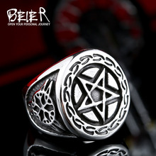 Buy Beier new store 316L Stainless Steel ring high pentagram punk Biker ring men fashion jewelry LLBR8-371R for $2.99 in AliExpress store