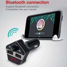 Car Bluetooth Wireless FM Transmitter MP3 Player USB Charger Magnetism Phone Holder for iPhone 7 iPad Samsung Galaxy S7 Black