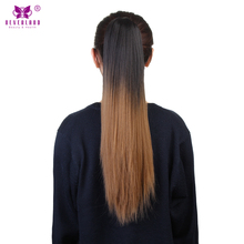 "Neverland Synthetic Straight Ombre Ponytail Extension Two Tone Fake Pony Tail 20"" Claw Clip On Hair Extension Multicolor Choice"