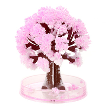17.5*22.5cm Visual Magic Artificial Sakura Trees Decorative Growing DIY Paper Tree Gift Novelty Baby Toy Flower Tree Exploring(China)