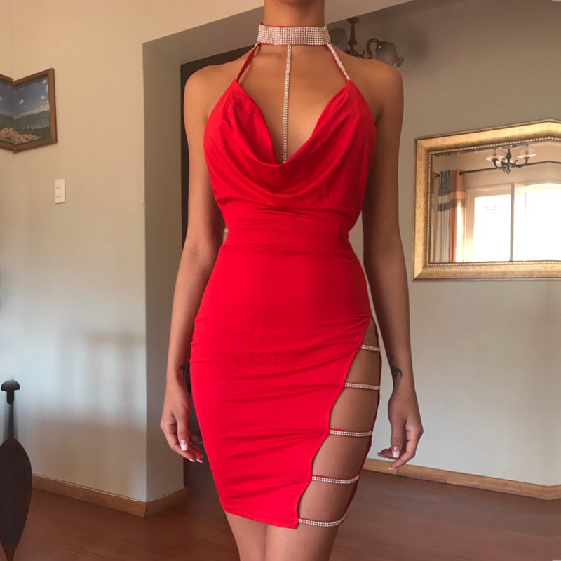 NewAsia Garden Crystal Sequin Party Dress Sexy Club Wear Backless Halter Summer Dress Bandage Bodycon Dress Mini Dresses Vestido