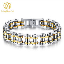 Men Jewelry Cool Men Biker Bicycle Motorcycle Chain Men's Bracelets & Bangles Fashion 4 Color 316L Stainless Steel Bracelets(China)