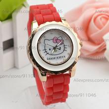 Fashion Silicone Band Quartz Watch Children's Cartoon Watches Boy's and Girl's Hello Kitty Watch for Christmas Promotion(China)