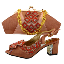 Beautiful lady party shoe peach color match bag Italian shoes and bags matching set buckle strap free shipment african woman bag