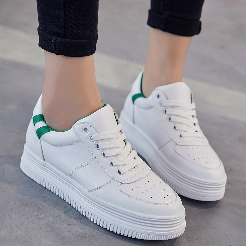 New 2017 Fashion Women Platform Shoes Breathable Leather Woman Shoes Lace Up Casual Walking Women Flats White Zapatillas Mujer<br><br>Aliexpress