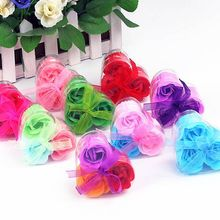 3pcs Heart-Shaped Artificial Rose Soap Flower Bath Body Soap Romantic Souvenirs Valentine's Day Gifts Wedding Favor Party Decor(China)