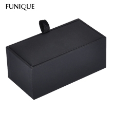 FUNIQUE Velvet Leather Lint Rectangle Cufflink Jewelry Box case Black Packaging Organizer Cuff-Link Gift Box for men 8.5cmx4.5cm