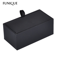 FUNIQUE Velvet Leather Lint Rectangle Cufflink Jewelry Box case Black Packaging Organizer Cuff-Link Gift Box for men 8.5cmx4.5cm(China)
