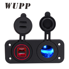 WUPP Waterproof Dual 2 Ports Usb Car Charger Electronic Cigarette Lighter Socket Blue Red Green High Quality Free Shipping(China)