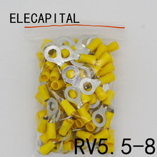 RV5.5-8 Yellow Ring insulated terminal suit 4-6mm2 Cable Wire Connector cable Crimp Terminal 50PCS/Pack RV5-8 RV(China)