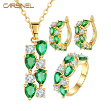 CARSINEL Fashion Pendant+Earrings+Ring Jewelry Sets Gold-color Jewelry Fashion CZ Zirconia Green Zircon for Women Wedding Party