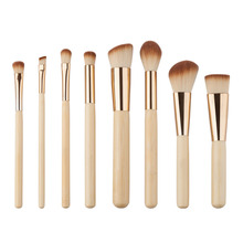 GUJHUI 8PCS/set bamboo Makeup Brushes Set Powder Foundation Eyebrow Facial Brush Cosmetics Make up Tools Make up Brush
