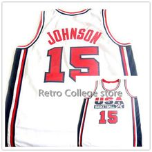 7 Shawn Kemp 15 Magic Johnson 1992 USA Olympic Dream Team Jersey Men's Basketball jersey Throwback Jerseys Stitched Embroidery R(China)