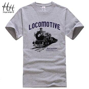 HanHent Locomotiva T-shirt de Impressão 2017 Chegada Nova Mens Camisetas Moda O Pescoço Casual Manga Curta Camiseta Homme