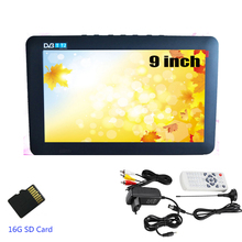 LEADSTAR 9 inch DVB-T-T2 Digital Analog Television and 16G SD card hign Resolution Color 50Hz Portable Car Mini TV(China)