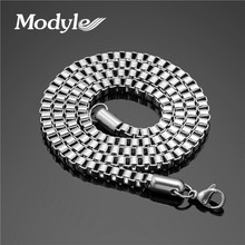 Modyle 2017 New 3mm Wide Chain Necklace for Men Jewelry Stainless Steel Long Necklace Jewelry Men Necklace(China)