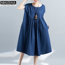 4XL 5XL 6XL Plus Size Women Clothing 2017 Summer Loose Sleeveless Elegant Blue Dress Big Size Linen Dress Cheap Clothes QZ1443