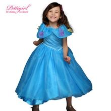 Pettigirl Elsa Anna Girl Dress Cinderella Design Dresses With Flowers Girls Birthday Party Costume Kids Summer Clothes GD50613-3(China)