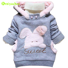 KEAIYOUHUO Baby Girls Jackets 2017 Winter Jacket For Girls Rabbit Hoodies Children Outerwear Coat Infant Girls Coat Kids Clothes