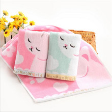 30X60cm Lovely Cute Embroidery Cat Kids Face Towel 100% Cotton Healthy Hand Towel For Children Gift Decorative Bathroom Towels