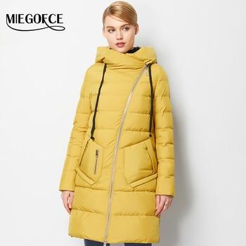 Miegofce nueva colección de invierno 2016 de las mujeres de mitad de longitud chaqueta abajo capa caliente de la chaqueta para las mujeres de alta calidad