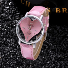Brand Women Watches Enfant Ceasuri Luxury Diamond Elegant Ladies Hodinky Cute Pink Hollow Heart Dial Student Clock Femme Rejores