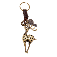 Vintage Bronze Animal Deer Keychain Bag Keyfobs Key Finder Charm Car Key Chain Ring Holder Novelty Jewelry Souvenirs Gift FY041