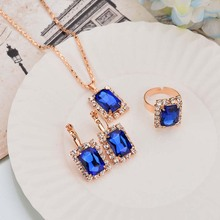 Trendy Shappire Blue Gem Crystal Jewelry Sets Wedding Jewellery 3pcs Gold Color Ring Earring Necklaces Set Girl's Gift