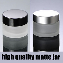 15g 20g 30g 50g 100g matte silver/black cap glass cosmetic containers cream jar,Frosted glass bottle for cosmetic packaging