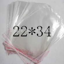 Clear Resealable Cellophane/BOPP/Poly Bag 22*34cm Transparent Opp cosmetic Bag Packing Plastic Bags Self Adhesive Seal 22*34 cm(China)