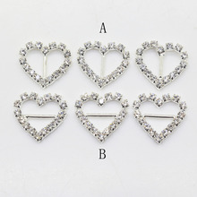 10Pcs/Set 17*18mm Heart  Rhinestone buckle Diamante Wedding Supplies Card Accessory Ribbon Decorative Deduction DIY