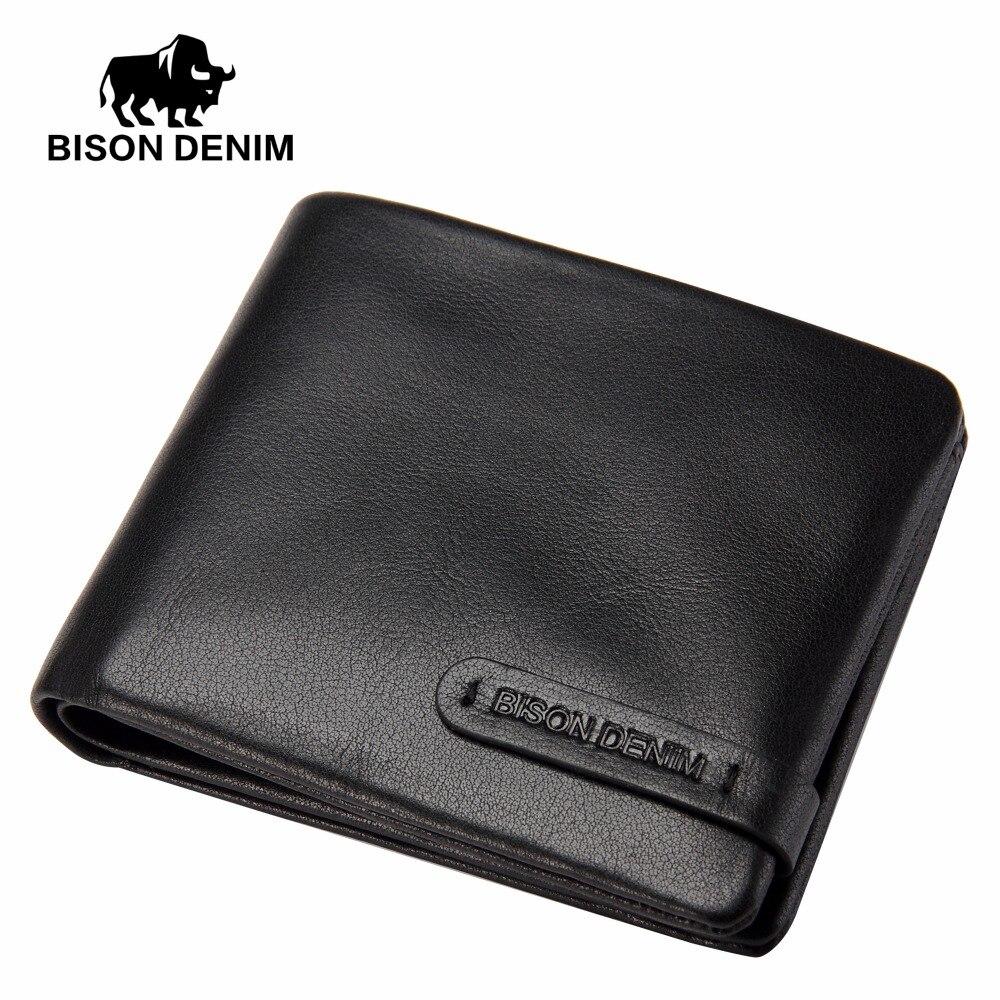 BISON DENIM fashion luxury genuine leather men wallets business male credit card holder purse with zipper pocket<br>