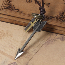 DoreenBeads European Vintage Punk Style Necklaces for Man Woman Casual Necklace Arrow Cross Massage Carved Charm Pendants 28.5cm