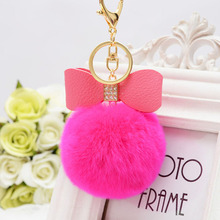 Bowknot Fur Pom Keychain Real Rex Rabbit Fur Ball Key Chians Fur Keyring Porte Clef LLavers Key Chain For Bag Charm EH-401(China)
