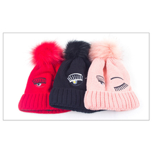 2016 Female Wool Hat Big Eye Embroidery Pattern Cap Women's Winter Hats With Pom Poms Thicken Beanies Skullies Women Red Pink