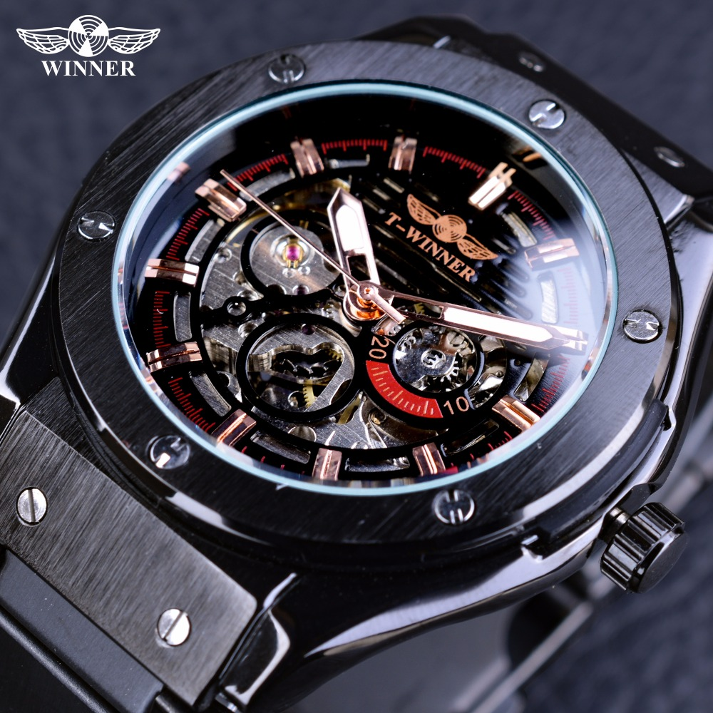 Winner Steampunk Mysterious Mechanical Black Fashion Racing Sport Fashion Design Men Automatic Skeleton Watches Top Brand Luxury<br>