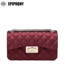 Epiphqny Brand Jelly Small Shoulder Bag Lattice Luxury Handbags Women Bags Designer Gold Chain Cross Body Bags for Lady(China)