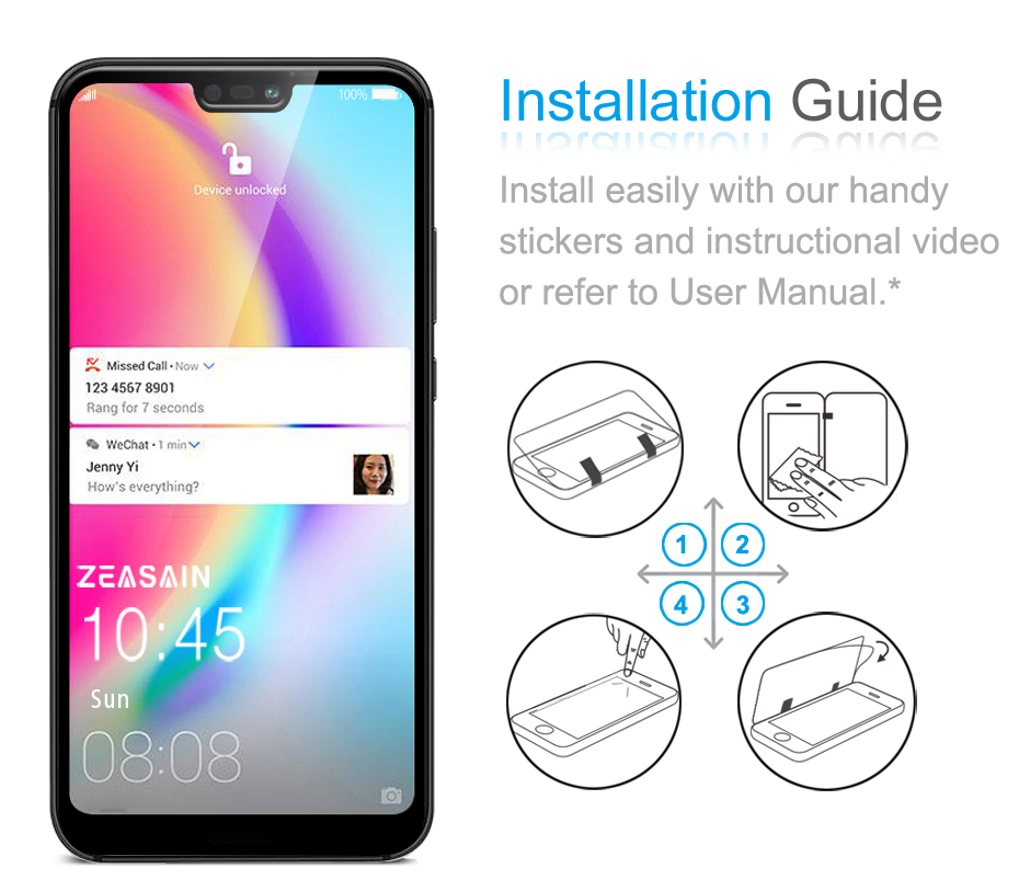Original ZEASAIN Full Cover Tempered Glass for Huawei P20 Lite P20Lite Huaweip20 Lite Screen Protector 9H 2.5D Safety Glass Film (2)