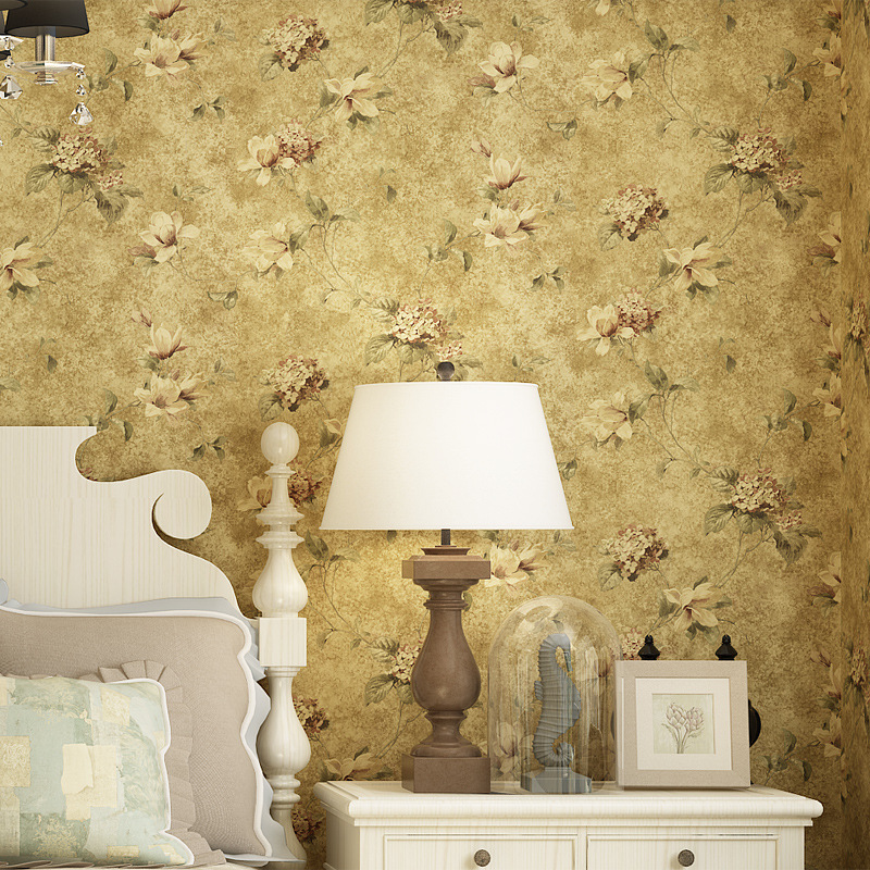 Vintage wallpaper Yellow Flower Flowers 3D Non Woven wall paper for bedroom wallpaper Country Style Rolls<br>
