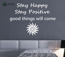 Modern Design Home Decor Quotes Stay Happy Stay Positive Sun Pattern Art Mural Vinyl Wall Sticker Namaste Buddha Decal DIYSY136(China)